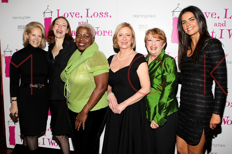 """NEW YORK, NY - JANUARY 05:  Producer Daryl Roth, Veanne Cox, Lillias White, Eve Plumb, Nancy Dussault and Katie Lee attend the """"Love, Loss, And What I Wore"""" new cast member celebration at B Smith's Restaurant on January 5, 2012 in New York City.  (Photo by Steve Mack/S.D. Mack Pictures)"""