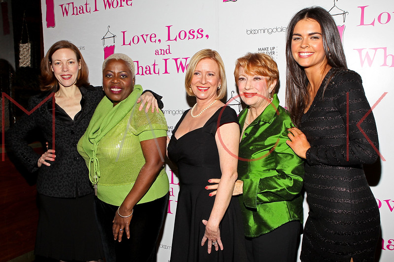 """NEW YORK, NY - JANUARY 05:  Veanne Cox, Lillias White, Eve Plumb, Nancy Dussault and Katie Lee attend the """"Love, Loss, And What I Wore"""" new cast member celebration at B Smith's Restaurant on January 5, 2012 in New York City.  (Photo by Steve Mack/S.D. Mack Pictures)"""