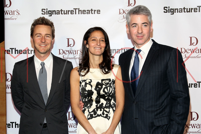 NEW YORK, NY - JANUARY 30:  Edward Norton, Karen Ackman and Bill Ackman attend The Signature Center Opening gala on January 30, 2012 in New York City.  (Photo by Steve Mack/S.D. Mack Pictures)