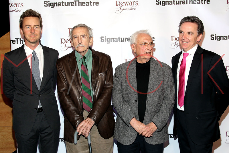 NEW YORK, NY - JANUARY 30:  Edward Norton, Edward Albee, Frank Gehry and James Houghton attend The Signature Center Opening gala on January 30, 2012 in New York City.  (Photo by Steve Mack/S.D. Mack Pictures)