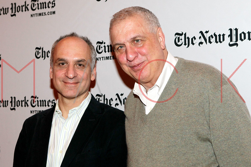 NEW YORK, NY - JANUARY 06:  New York Times Op-Ed editor George Kalogerakis and filmmaker Errol Morris attend the New York Times TimesTalk during the 2012 NY Times Arts & Leisure weekend at The Times Center on January 6, 2012 in New York City.  (Photo by Steve Mack/S.D. Mack Pictures)