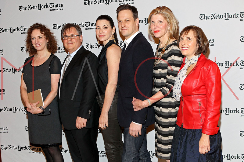 NEW YORK, NY - JANUARY 06:  New York Times Theater Editor Patricia Cohen, Writer Robert King, actress Julianna Margulies, actor Josh Charles, actress Christine Baranski, and writer Michelle King attend the New York Times TimesTalk during the 2012 NY Times Arts & Leisure weekend at The Times Center on January 6, 2012 in New York City.  (Photo by Steve Mack/S.D. Mack Pictures)