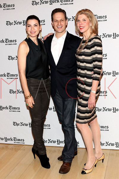 NEW YORK, NY - JANUARY 06:  Julianna Margulies, Josh Charles and Christine Baranski attend the New York Times TimesTalk during the 2012 NY Times Arts & Leisure weekend at The Times Center on January 6, 2012 in New York City.  (Photo by Steve Mack/S.D. Mack Pictures)