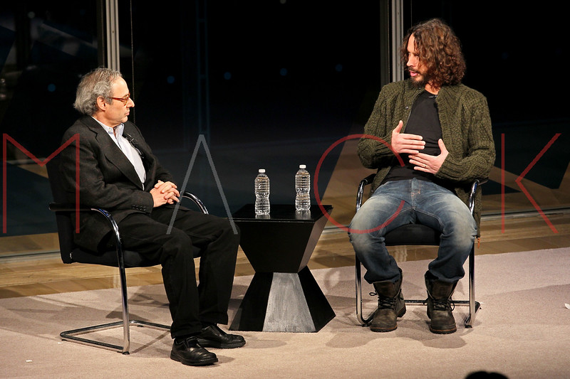 NEW YORK, NY - JANUARY 07:  Jon Pareless and Chris Cornell attend the New York Times TimesTalk during the 2012 NY Times Arts & Leisure weekend at The Times Center on January 7, 2012 in New York City.  (Photo by Steve Mack/S.D. Mack Pictures)