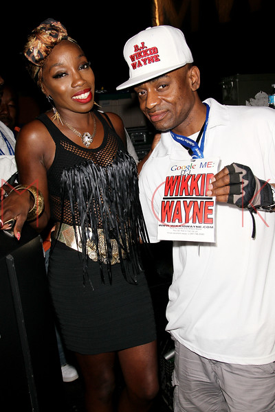 NEW YORK, NY - JULY 01:  Estelle and DJ Wikkie Wayne back stage during a free Independence Day concert and fireworks display at 101st Street and Ft. Hamilton Parkway on July 1, 2012 in the Brooklyn borough of New York City.  (Photo by Steve Mack/S.D. Mack Pictures)