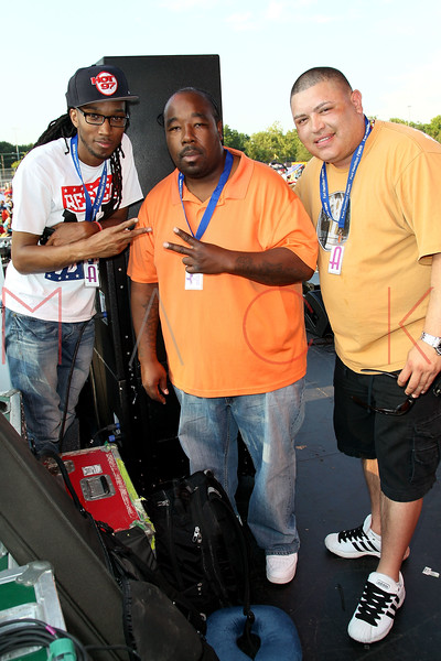 NEW YORK, NY - JULY 01:  DJ Wallah, NY Hot 97 radio personality Bigg Marv and  MC Danny Santiago on stage during a free Independence Day concert and fireworks display at 101st Street and Ft. Hamilton Parkway on July 1, 2012 in the Brooklyn borough of New York City.  (Photo by Steve Mack/S.D. Mack Pictures)