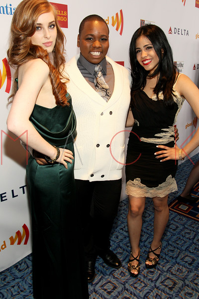 New York, NY - March 24: Marissa von Bleicken, Alex Newell, Emily Vasquez at the 23rd Annual GLAAD Media Awards in the Marriott Hotel on Saturday, March 24, 2012 in New York, NY.  (Photo by Steve Mack/S.D. Mack Pictures)