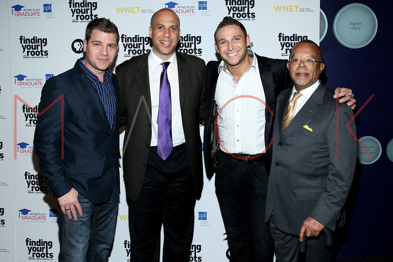 New York, NY - March 19: Tom Murro, Cory Booker, Chris Nirschel, Henry Louis Gates Jr. at FINDING YOUR ROOTS Premiere Screening at Frederick P. Rose Hall, Jazz at Lincoln Center on Monday, March 19, 2012 in New York, NY.  (Photo by Steve Mack/S.D. Mack Pictures)