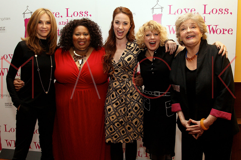 """NEW YORK, NY - MARCH 01:  Actresses Ally Walker, Erica Watson, Sierra Boggess, Karyn Quackenbush and Joyce van Patten attend the """"Love, Loss and What I Wore"""" final cast change celebration at B. Smith's Restaurant on March 1, 2012 in New York City.  (Photo by Steve Mack/Getty Images)"""