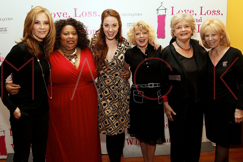 """NEW YORK, NY - MARCH 01:  Actresses Ally Walker, Erica Watson, Sierra Boggess, Karyn Quackenbush, Joyce van Patten and Producer Daryl Roth attend the """"Love, Loss and What I Wore"""" final cast change celebration at B. Smith's Restaurant on March 1, 2012 in New York City.  (Photo by Steve Mack/Getty Images)"""