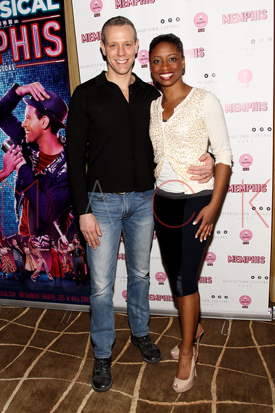 New York, NY - March 14: Adam Pascal, Montego Glover at Celebration of MEMPHIS' 1000th Performance On Broadway at 48 Lounge on Wednesday, March 14, 2012 in New York, NY.  (Photo by Steve Mack/S.D. Mack Pictures)