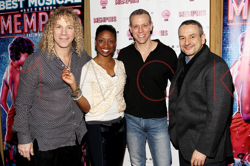 New York, NY - March 14: David Bryan, Montego Glover, Adam Pascal, Joe DiPietro at Celebration of MEMPHIS' 1000th Performance On Broadway at 48 Lounge on Wednesday, March 14, 2012 in New York, NY.  (Photo by Steve Mack/S.D. Mack Pictures)