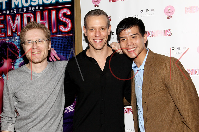 New York, NY - March 14: Anthony Rapp, Adam Pascal, Telly Leung at Celebration of MEMPHIS' 1000th Performance On Broadway at 48 Lounge on Wednesday, March 14, 2012 in New York, NY.  (Photo by Steve Mack/S.D. Mack Pictures)