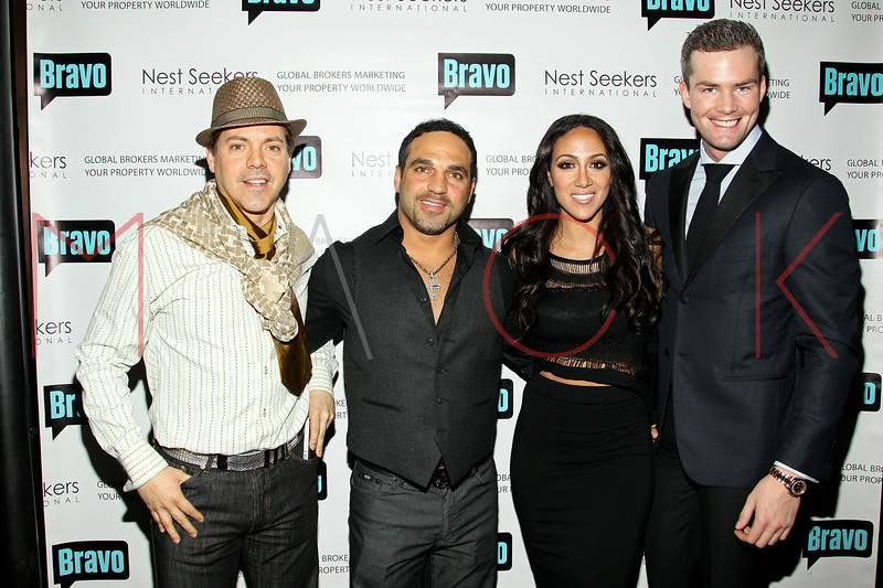 New York, NY - March 02: Socialite EricAndrew, Joe Gorga, Melissa Gorga, Ryan Serhant at the 'Million Dollar Listing New York' premiere at Catch Roof on Friday, March 2, 2012 in New York, NY.  (Photo by Steve Mack/S.D. Mack Pictures)