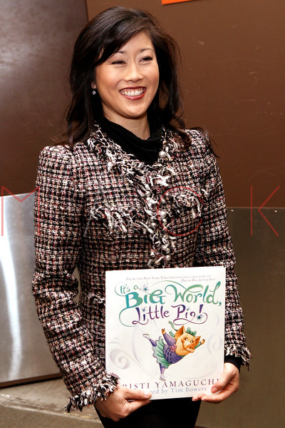 "NEW YORK, NY - MARCH 06:  Kristi Yamaguchi promotes the new book ""It's a Big World, Little Pig!"" at Barnes & Noble Tribeca on March 6, 2012 in New York City.  (Photo by Steve Mack/S.D. Mack Pictures)"