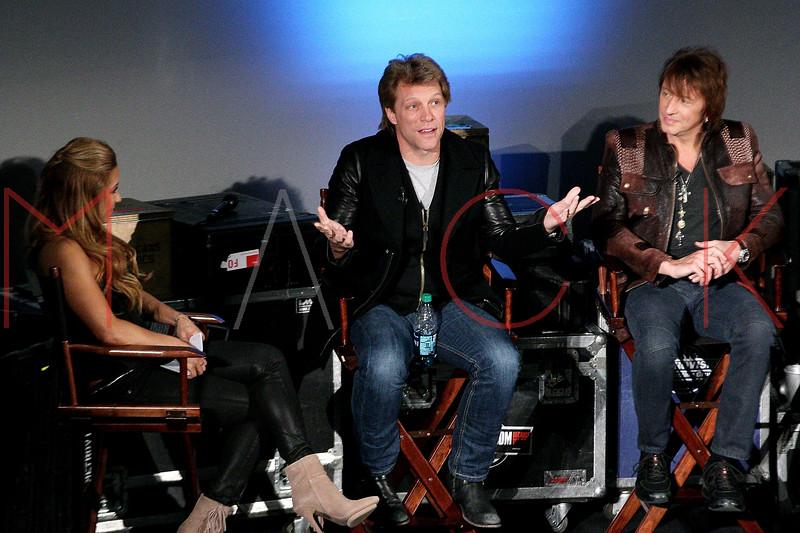 "NEW YORK, NY - NOVEMBER 27:  Jon Bon Jovi and Richie Sambora attend the ""BON JOVI Inside Out"" press conference at AMC Empire 25 theater on November 27, 2012 in New York City.  (Photo by Steve Mack/S.D. Mack Pictures)"