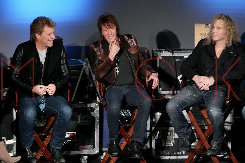 "NEW YORK, NY - NOVEMBER 27:  Jon Bon Jovi, Richie Sambora and David Bryan attend the ""BON JOVI Inside Out"" press conference at AMC Empire 25 theater on November 27, 2012 in New York City.  (Photo by Steve Mack/S.D. Mack Pictures)"