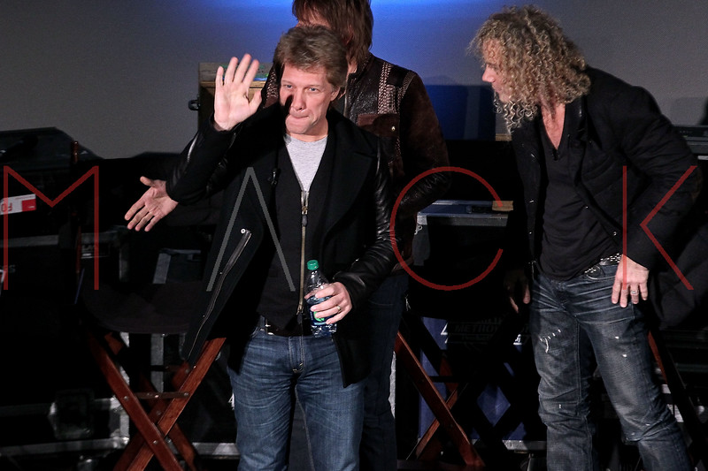 "NEW YORK, NY - NOVEMBER 27:  Jon Bon Jovi and David Bryan attend the ""BON JOVI Inside Out"" press conference at AMC Empire 25 theater on November 27, 2012 in New York City.  (Photo by Steve Mack/S.D. Mack Pictures)"