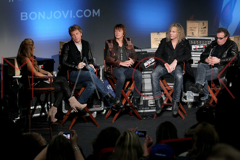 "NEW YORK, NY - NOVEMBER 27:  Jon Bon Jovi, Richie Sambora, David Bryan and Tico Torres attend the ""BON JOVI Inside Out"" press conference at AMC Empire 25 theater on November 27, 2012 in New York City.  (Photo by Steve Mack/S.D. Mack Pictures)"