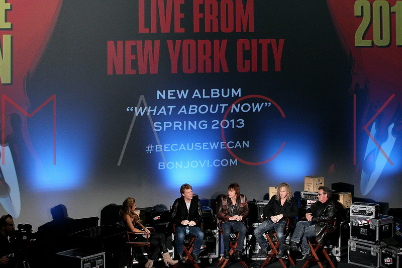 "NEW YORK, NY - NOVEMBER 27:  Bon Jovi band members attend the ""BON JOVI Inside Out"" press conference at AMC Empire 25 theater on November 27, 2012 in New York City.  (Photo by Steve Mack/S.D. Mack Pictures)"