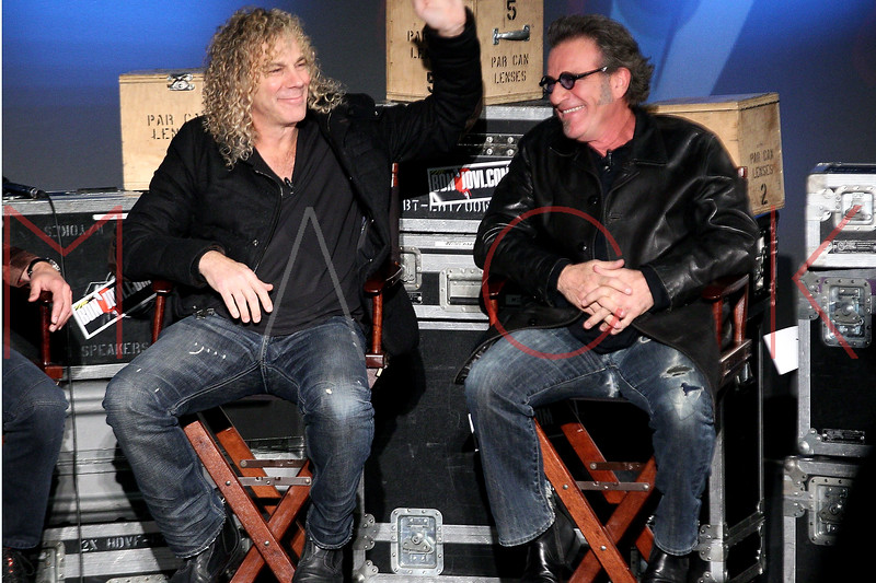 """NEW YORK, NY - NOVEMBER 27:  David Bryan and Tico Torres attend the """"BON JOVI Inside Out"""" press conference at AMC Empire 25 theater on November 27, 2012 in New York City.  (Photo by Steve Mack/S.D. Mack Pictures)"""
