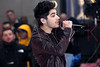 "NEW YORK, NY - NOVEMBER 13:  Zayn Malik of One Direction performs on NBC's ""Today"" at Rockefeller Plaza on November 13, 2012 in New York City.  (Photo by Steve Mack/S.D. Mack Pictures)"