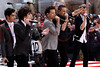 "NEW YORK, NY - NOVEMBER 13:  One Direction performs on NBC's ""Today"" at Rockefeller Plaza on November 13, 2012 in New York City.  (Photo by Steve Mack/S.D. Mack Pictures)"