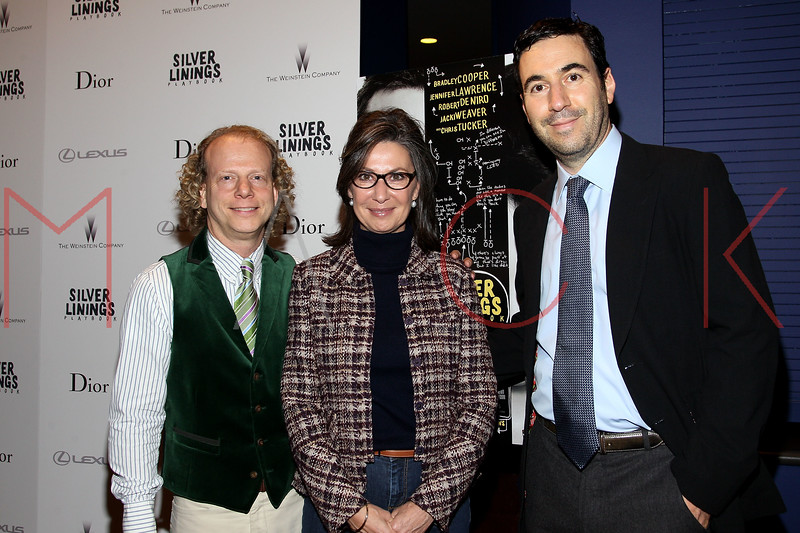 "NEW YORK, NY - NOVEMBER 11:  Bruce Cohen, Donna Gigliotti and Jon Gordon attend the ""Silver Linings Playbook"" premiere at Florence Gould Hall on November 11, 2012 in New York City.  (Photo by Steve Mack/S.D. Mack Pictures)"