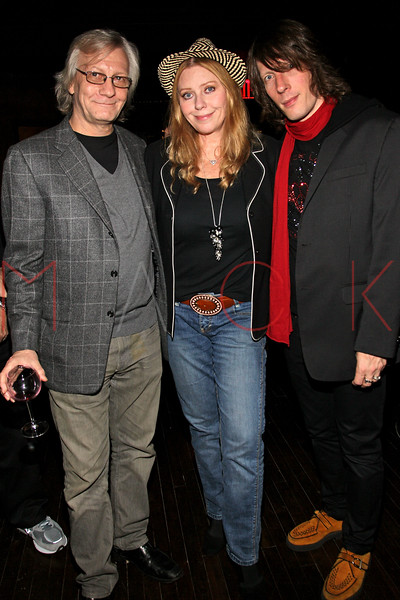 "NEW YORK, NY - OCTOBER 10:  Jim Kerr, Bebe Buell and Jimmy Walls attend the book signing for ""Up All Night, My Life and Times in Rock Radio"" at The Cutting Room on October 10, 2012 in New York City.  (Photo by Steve Mack/S.D. Mack Pictures)"