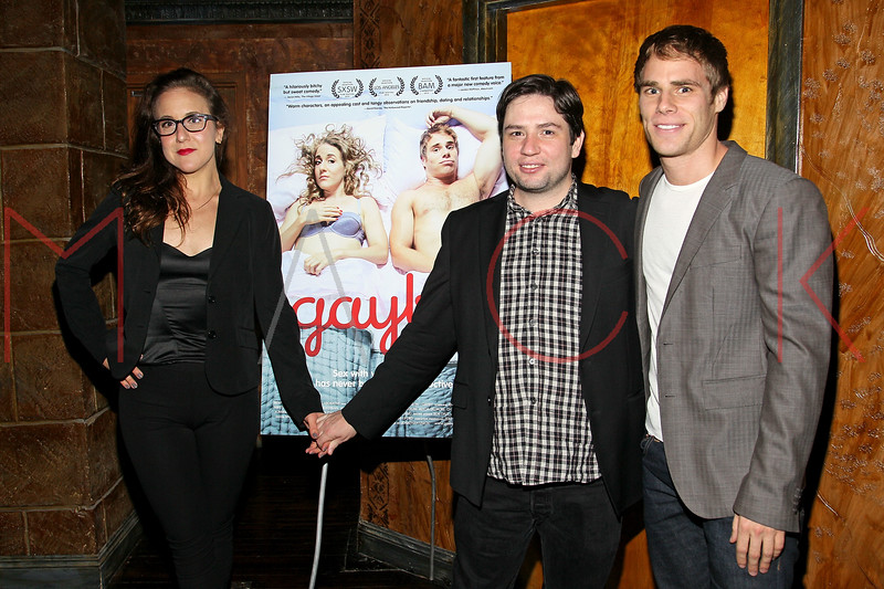 "NEW YORK, NY - OCTOBER 10:  Jenn Harris, Director Jonathan Lisecki and Matthew Wilkas attend ""Gaybe"" New York Premiere at Crosby Street Hotel on October 10, 2012 in New York City.  (Photo by Steve Mack/S.D. Mack Pictures)"