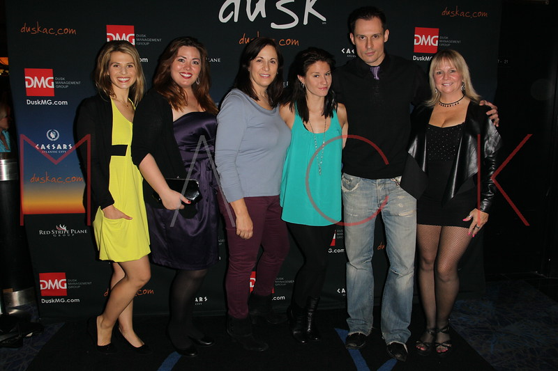 "ATLANTIC CITY, NJ - OCTOBER 13:  Jessica Tar, Blaze Kelly Coyle, Kim St. Clair, Theresa Galeani, Keith Collins and Geri Reischl attend the ""Meat Puppet-World Premiere"" party at DUSK at Caesars Atlantic City on October 13, 2012 in Atlantic City, New Jersey.  (Photo by Steve Mack/S.D. Mack Pictures)"