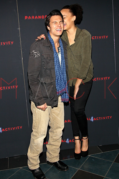 "NEW YORK, NY - OCTOBER 16:  Chris Riggi and Britne Oldford attend the ""Paranormal Activity 4"" screening at Regal E-Walk Stadium 13 on October 16, 2012 in New York City.  (Photo by Steve Mack/S.D. Mack Pictures)"