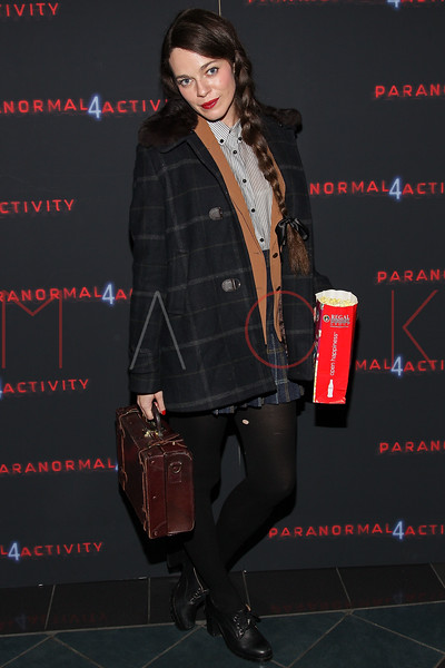 """NEW YORK, NY - OCTOBER 16:  Hailey Gates attends the """"Paranormal Activity 4"""" screening at Regal E-Walk Stadium 13 on October 16, 2012 in New York City.  (Photo by Steve Mack/S.D. Mack Pictures)"""
