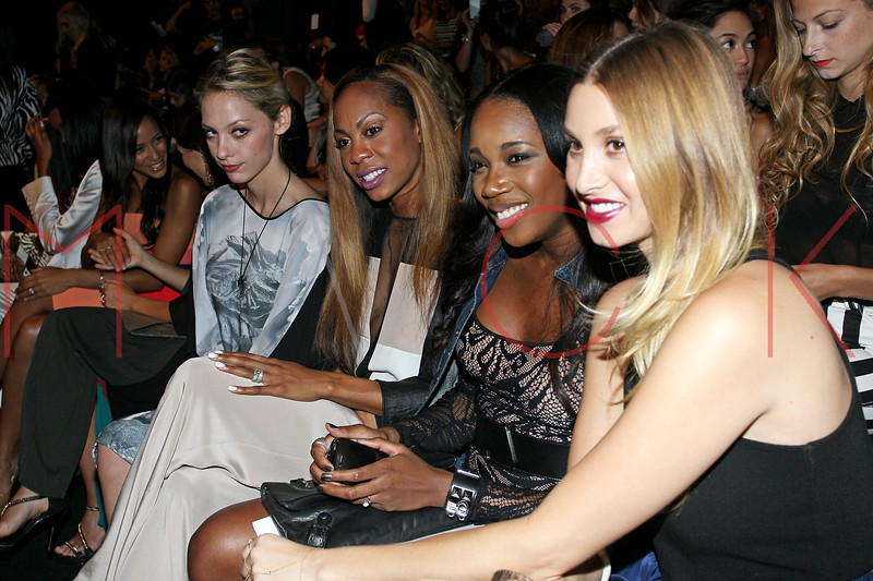 NEW YORK, NY - SEPTEMBER 06:  Cory Kennedy, Olympian Sanya Richards-Ross, DJ Kiss, and Whitney Port attend the  BCBGMAXAZRIA Spring 2013 Mercedes-Benz Fashion Week Show at The Theatre Lincoln Center on September 6, 2012 in New York City.  (Photo by Steve Mack/S.D. Mack Pictures)