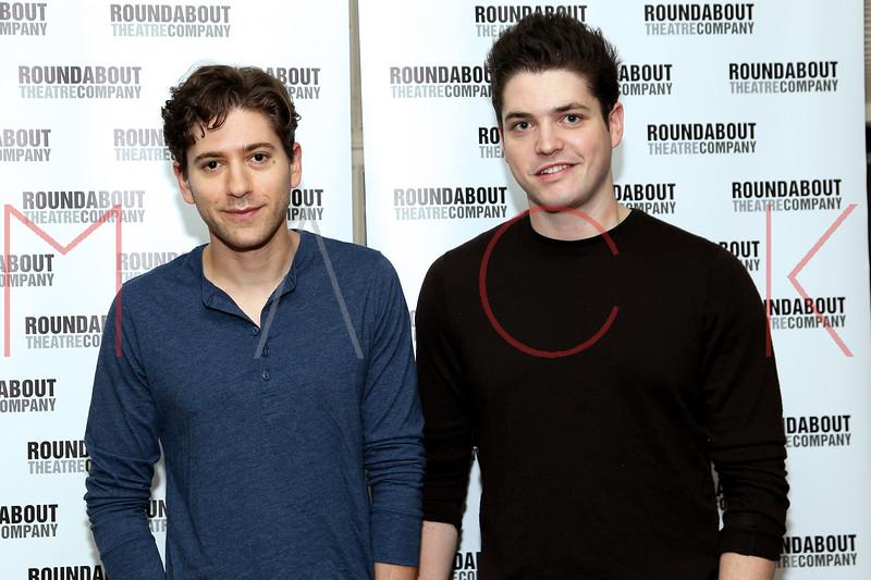 "NEW YORK, NY - SEPTEMBER 20:  Michael Zegen and Philip Ettinger attend ""Bad Jews"" Cast Photo Call on September 20, 2012 in New York City.  (Photo by Steve Mack/S.D. Mack Pictures)"