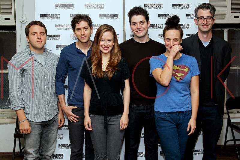 """NEW YORK, NY - SEPTEMBER 20:  Playwright Joshua Elias Harmon, actors Michael Zegen, Molly Ranson, Philip Ettinger, Tracee Chimo and playwright Daniel Aukin attend """"Bad Jews"""" Cast Photo Call on September 20, 2012 in New York City.  (Photo by Steve Mack/S.D. Mack Pictures)"""