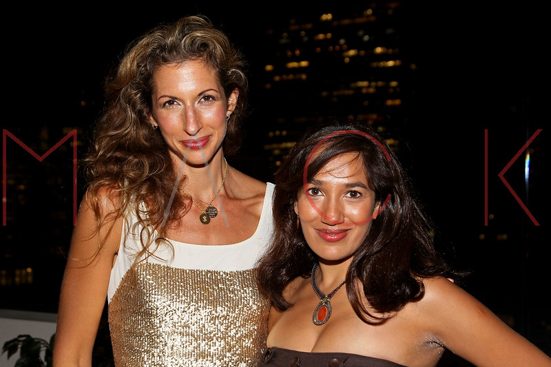 NEW YORK, NY - SEPTEMBER 06:  Alysia Reiner and Purva Bedi at Sky Room on September 6, 2012 in New York City.  (Photo by Steve Mack/Getty Images for Caravan)