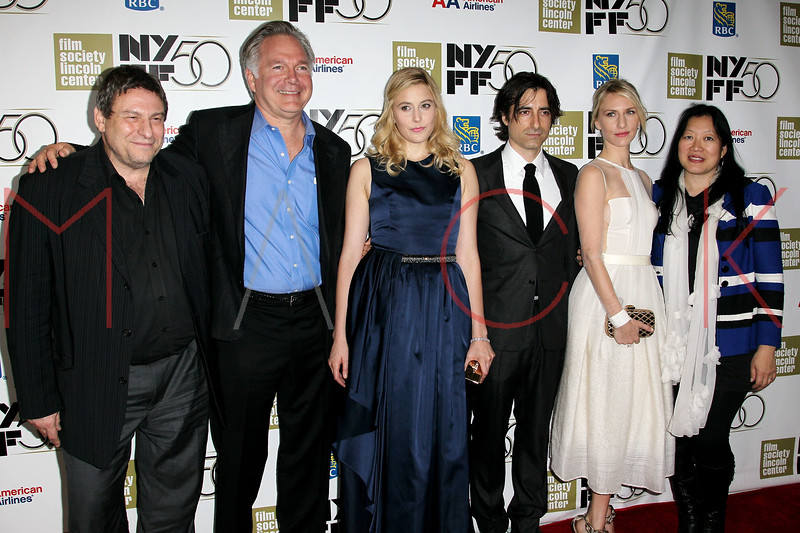 """NEW YORK, NY - SEPTEMBER 30:  Richard Pena, Johathan Searing, Greta Gerwig, Noah Baumbach, Mickey Sumner and Rose Kuo attend the """"Frances HA"""" premiere during the 50th New York Film Festival at Alice Tully Hall on September 30, 2012 in New York City.  (Photo by Steve Mack/S.D. Mack Pictures)"""