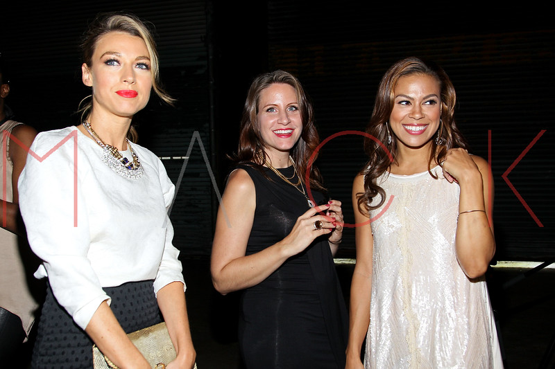 NEW YORK, NY - SEPTEMBER 10:  Natalie Zea, Amy Trucks and Toni Trucks attend the Libertine Spring 2013 Mercedes-Benz Fashion Week Show at Pier 57 on September 10, 2012 in New York City.  (Photo by Steve Mack/S.D. Mack Pictures)