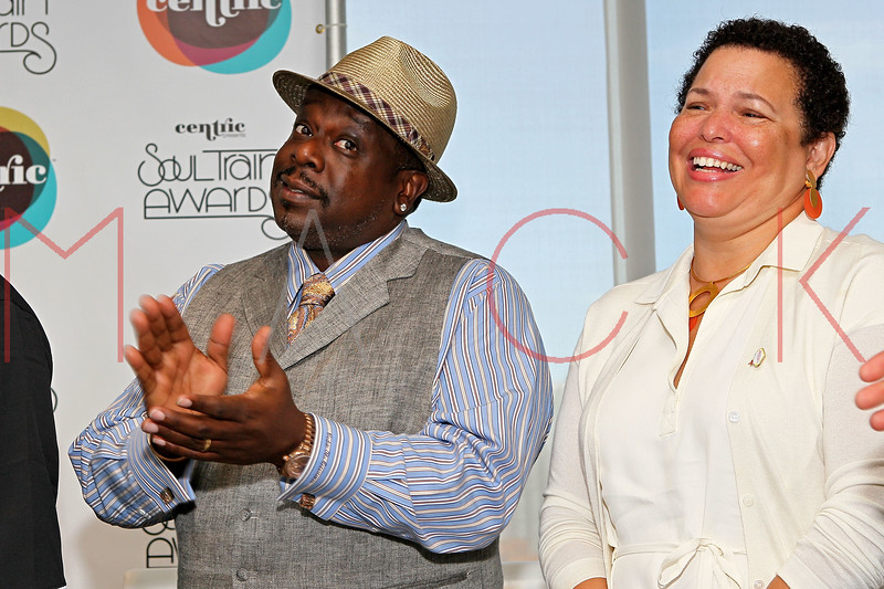 NEW YORK, NY - SEPTEMBER 19:  Cedric the Entertainer and Chairman Debra Lee attend the Soul Train Awards 2012 press conference at the Glass Houses on September 19, 2012 in New York City.  (Photo by Steve Mack/S.D. Mack Pictures)