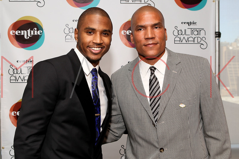 NEW YORK, NY - SEPTEMBER 19:  Trey Songz and Paxton Baker attend the Soul Train Awards 2012 press conference at the Glass Houses on September 19, 2012 in New York City.  (Photo by Steve Mack/S.D. Mack Pictures)