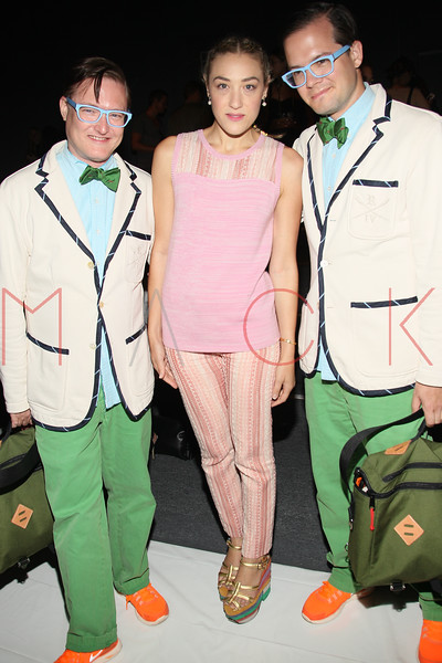 NEW YORK, NY - SEPTEMBER 09:  Mia Moretti (middle) and DJ team AndrewAndrew attend the Timo Weiland Spring 2013 Mercedes-Benz Fashion Week Show at The Studio at Lincoln Center on September 9, 2012 in New York City.  (Photo by Steve Mack/S.D. Mack Pictures)