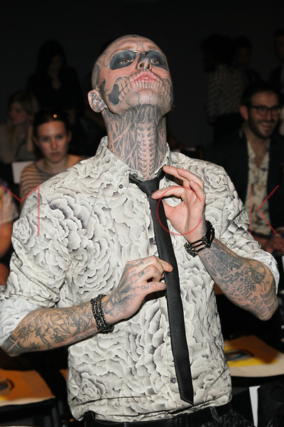"""NEW YORK, NY - SEPTEMBER 09:  Rick """"Zombie Boy"""" Genest attends the Timo Weiland Spring 2013 Mercedes-Benz Fashion Week Show at The Studio at Lincoln Center on September 9, 2012 in New York City.  (Photo by Steve Mack/S.D. Mack Pictures)"""