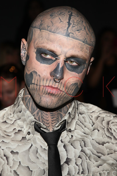 "NEW YORK, NY - SEPTEMBER 09:  Rick ""Zombie Boy"" Genest attends the Timo Weiland Spring 2013 Mercedes-Benz Fashion Week Show at The Studio at Lincoln Center on September 9, 2012 in New York City.  (Photo by Steve Mack/S.D. Mack Pictures)"