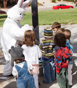 :Luke was a little hesitant about meeting the Easter bunny