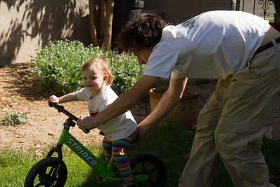 Eleanor's first ride on the Strider bike! She loved it, even with the Luke-height seat.