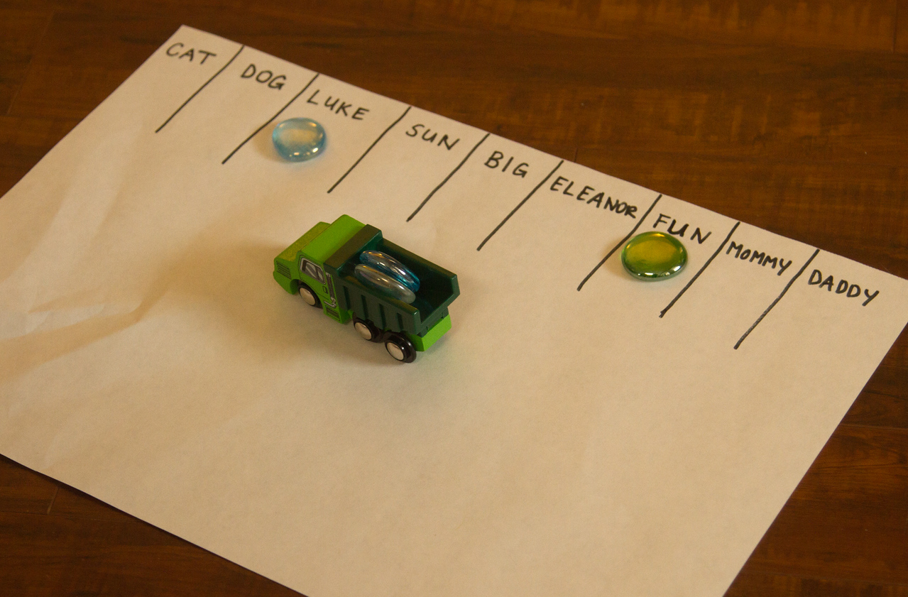 Sight word reading practice with truck deliveries