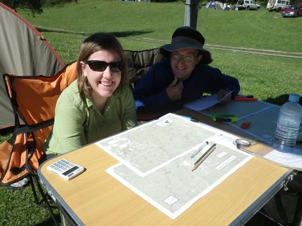 Benita Sommerville and Troy Skaleskog planning their route.