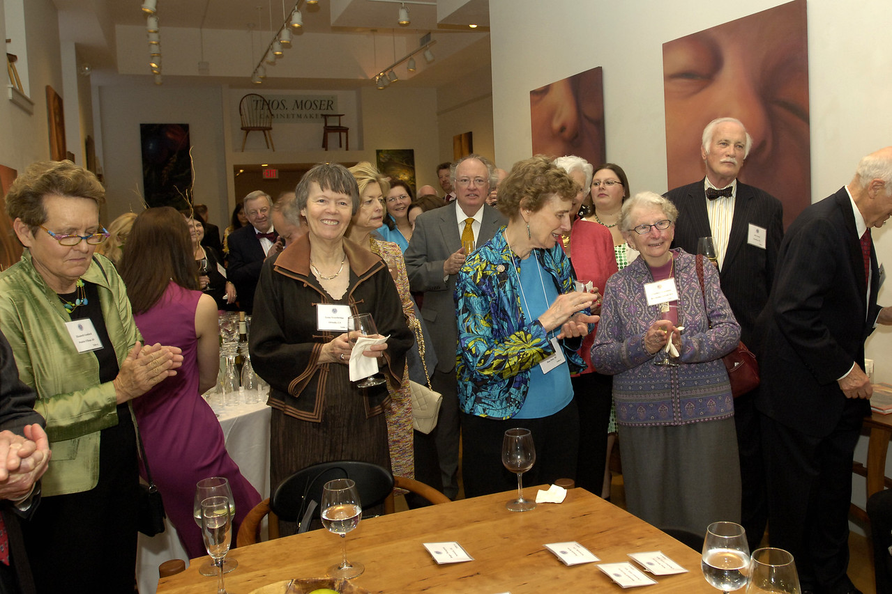 Trustee Elizabeth Goddard with councilors Lynn Trowbridge, Judith Halseth, and Priscilla Greenlees, and trustee emeritus William Fowler, at the Patron reception at Thos. Moser Cabinetmakers.
