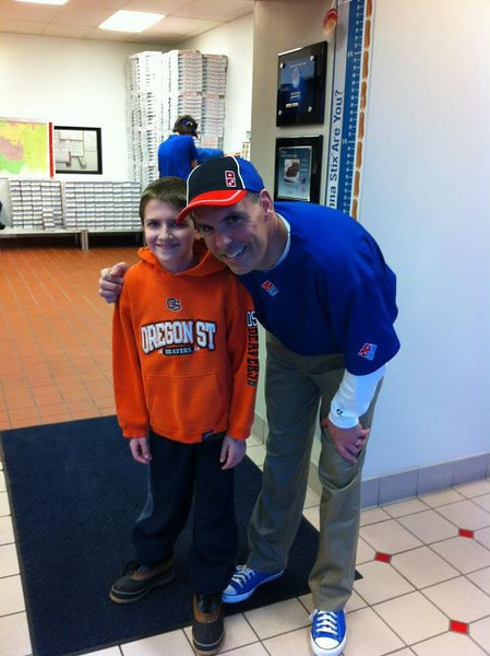 "Jaedon with school Principle ""Mr. Long"" at Domino's Pizza Night"